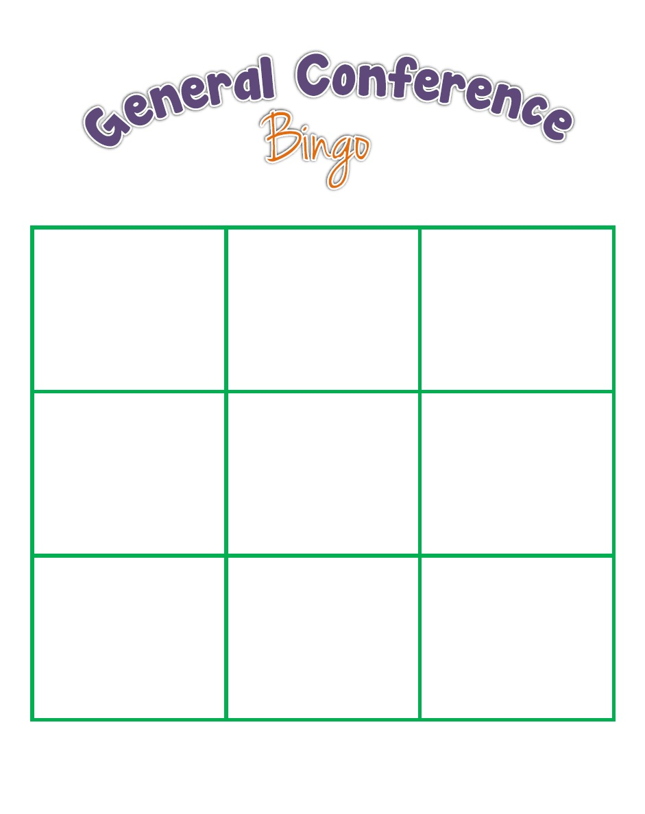 General Conference Bingo for the Kids! The Red Headed Hostess Regarding Bingo Card Template Word