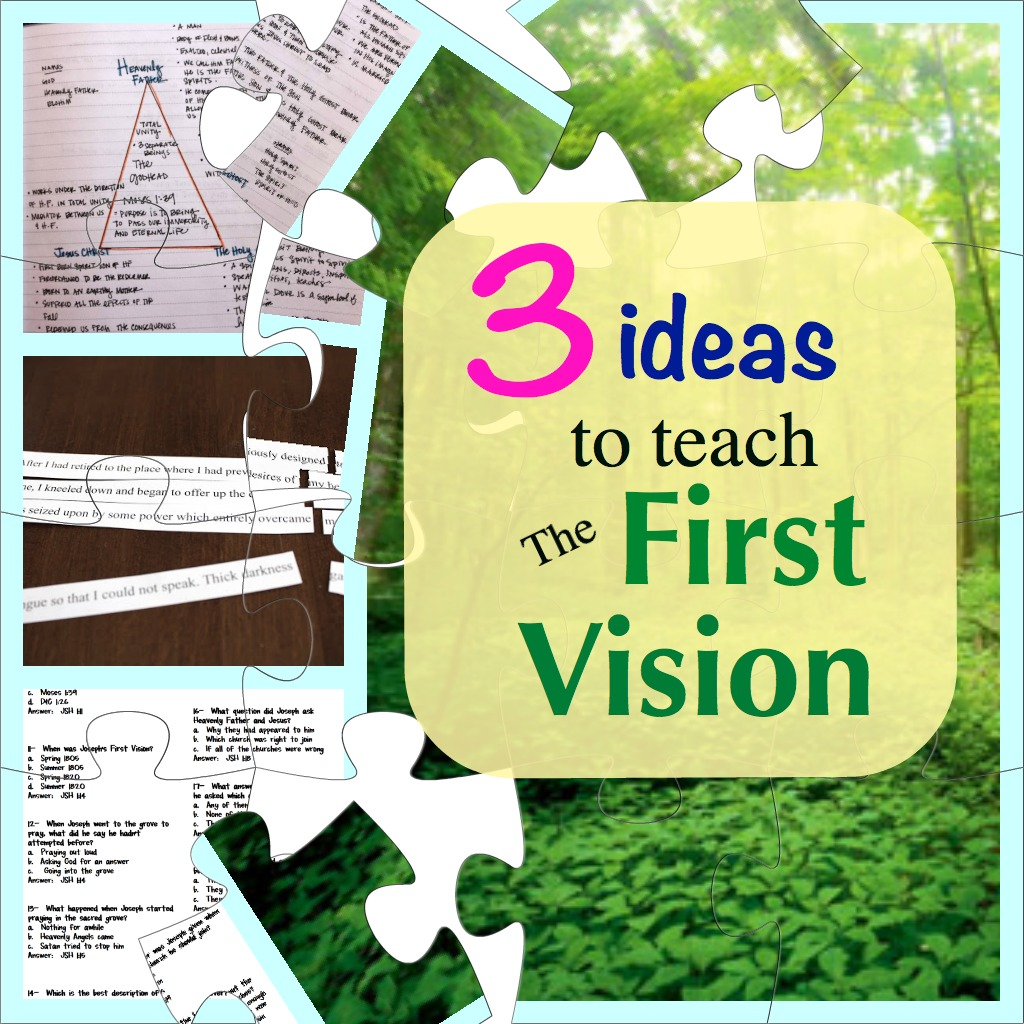 Three ideas to teach about Joseph Smith and The First Vision! Ideas for all ages!