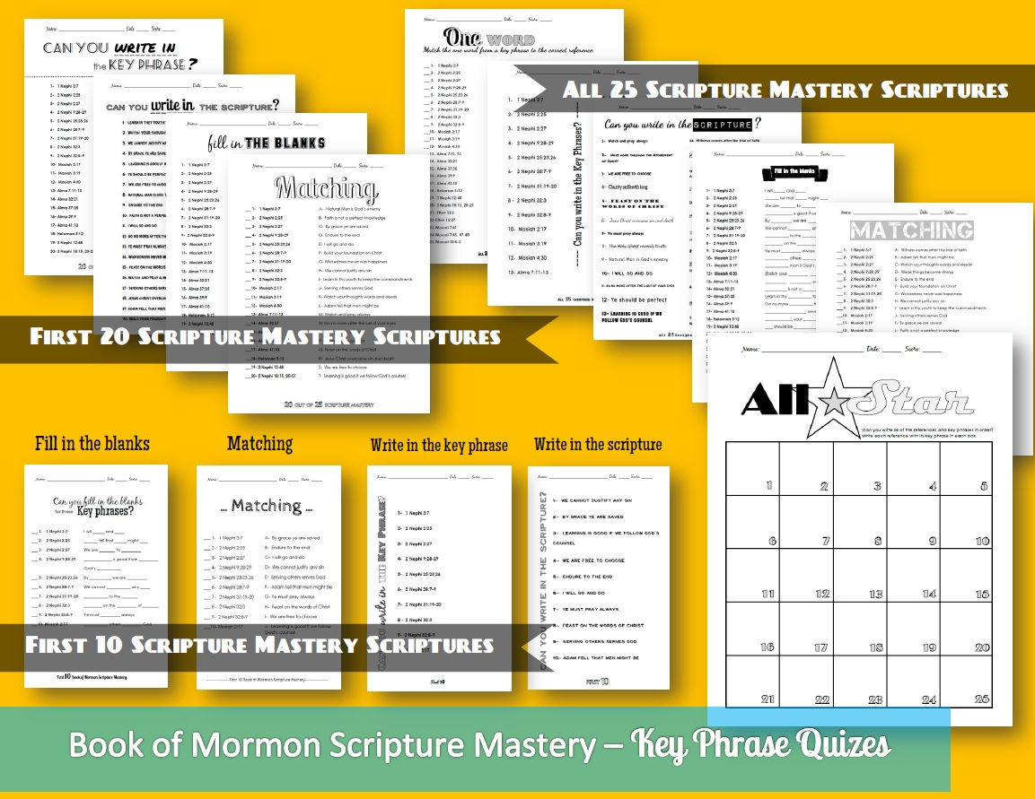 Book of Mormon Scripture Mastery Quizes!