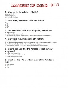 Article of Faith quiz #1