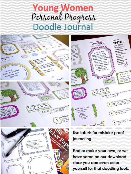 Check out these personal progress doodle journals. So fun for the young women!