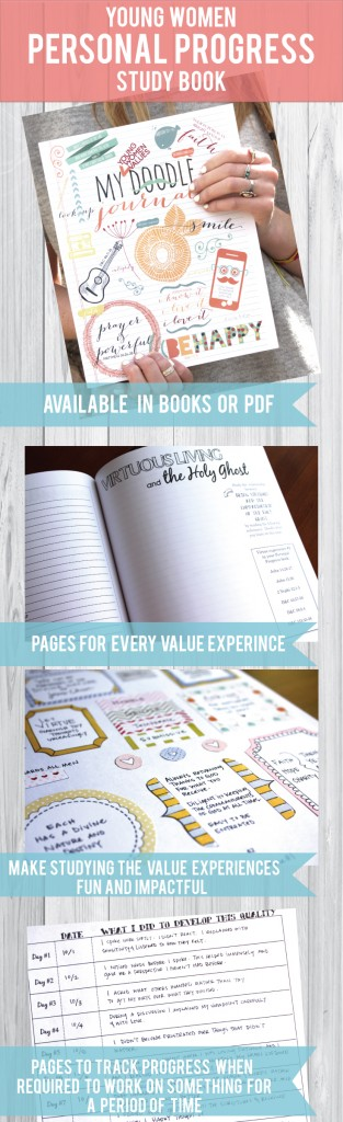 Personal Progress study book that helps the girls study EVERY VALUE EXPERIENCE! This is so cute! You can get it in a book or a PDF and print individual pages for the girls! #youngwomenpersonalprogress #personalprogressideas #ldspersonalprogress #personalprogressactivities