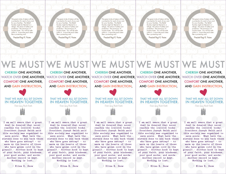 Relief Society Quotes (3 really great ones) on a bookmark