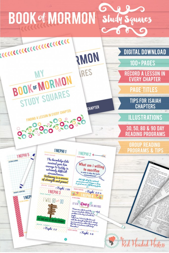 Book of Mormon Study Squares! These darling books help you find a lesson in every chapter as you study the Book of Mormon! It is a really effective and fun way to study! #bookofmormon