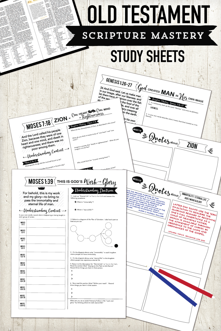 Old Testament scripture mastery study sheets.  Great way to study each scripture mastery in depth!