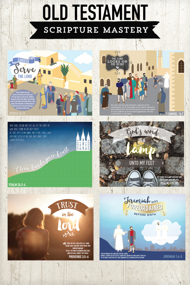 Old Testament Scripture Mastery pictures and illustrations.  These are printable posters are amazing and teach the CONTEXT and the doctrine!
