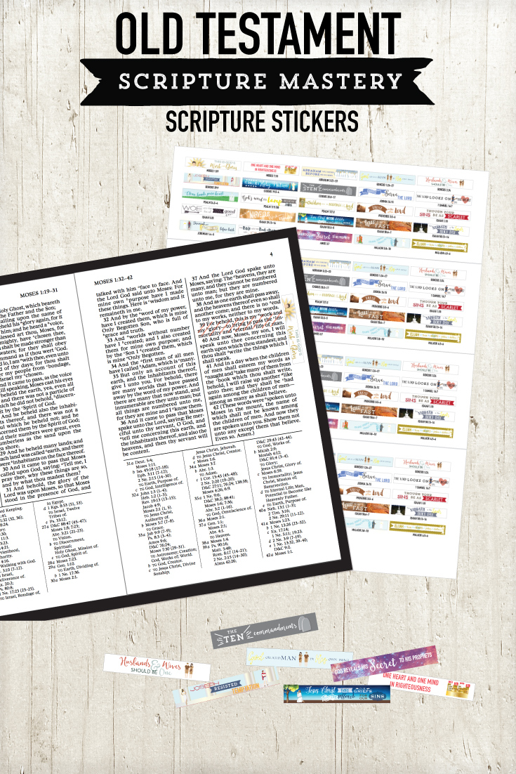 Old Testament scripture stickers.  These are printable - just print onto sticker paper and put in your margin!
