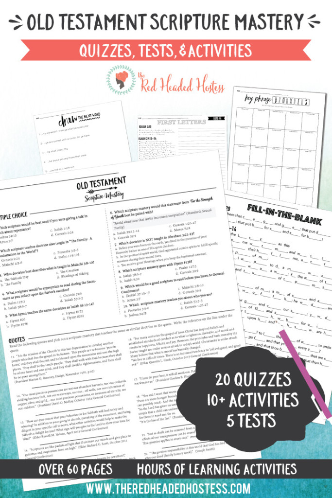 Old Testament Scripture Mastery quizzes, tests, and activities.  This comes with  20 quizzes, 5 awesome comprehensive tests, and 10+ learning activities.  Just print and go!  Hours of learning helps!