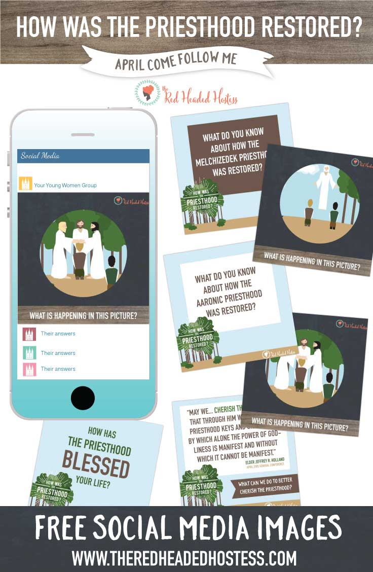 How was the Priesthood Restored? April Come Follow Me. FREE social media images that you can share with the youth before the lesson, or use as follow ups after the lesson. What a great way to reach them!