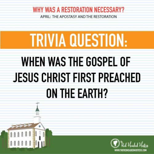 Why was a restoration necessary? April Young Women lesson. Free social media images that you can post for you youth to respond to. Great way to get them ready for the lesson or follow up after!