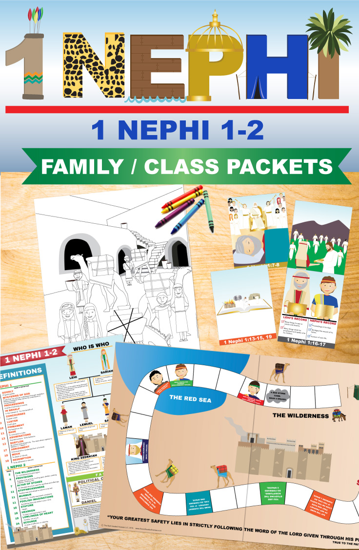 1 Nephi 1-2 lessons - print and go. These packets by The Red Headed Hostess are amazing! There are SO many learning activities in each one - and there are learning activities for every age. Even things toddlers can do up to mission prep.