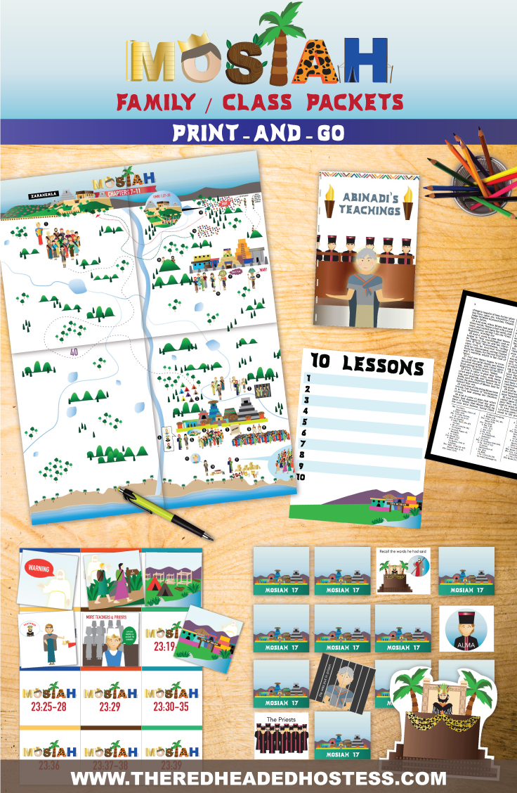 Mosiah lesson packages - just print and go. These Book of Mormon lesson kits by The Red Headed Hostess are amazing for every age. Families will love these!