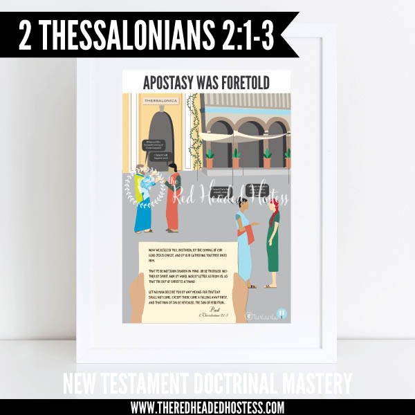 2 Thessalonians 2:1-3 - Apostasy was foretold - New Testament Doctrinal Mastery illustrated poster www.theredheadedhostess.com