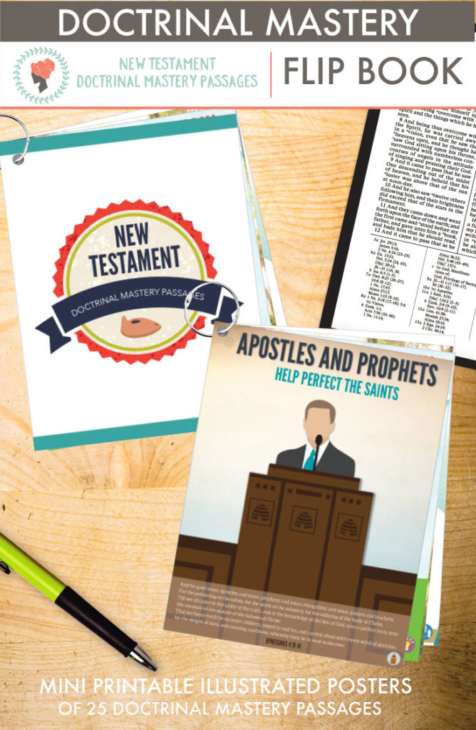 New Testament Doctrinal Mastery Passages Flip Book! What a great way to give each person a set of illustrated mini posters!