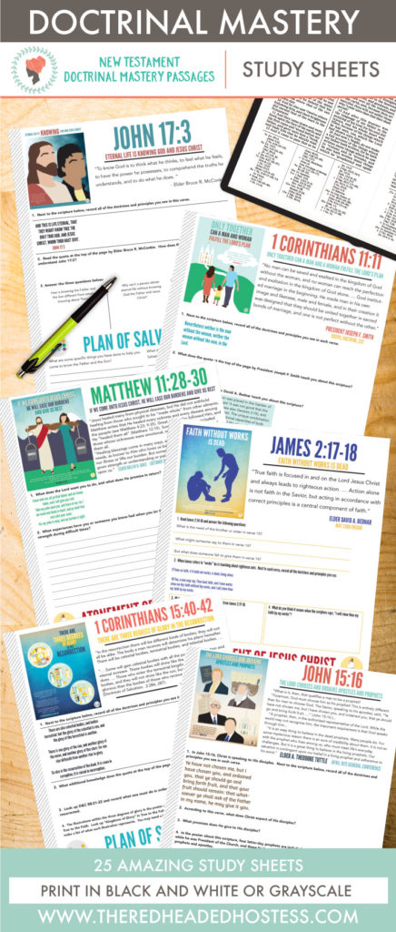 New Testament Doctrinal Mastery Passages- Study Sheets. These are amazing!