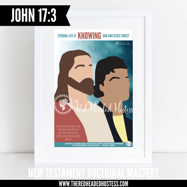John 17:3 Eternal Life is knowing God and Jesus Christ - New Testament Doctrinal Mastery illustrated poster www.theredheadedhostess.com
