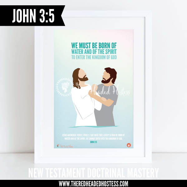 John 3:5 We must be born of water and of the Spirit to enter the kingdom of God - New Testament Doctrinal Mastery illustrated poster www.theredheadedhostess.com