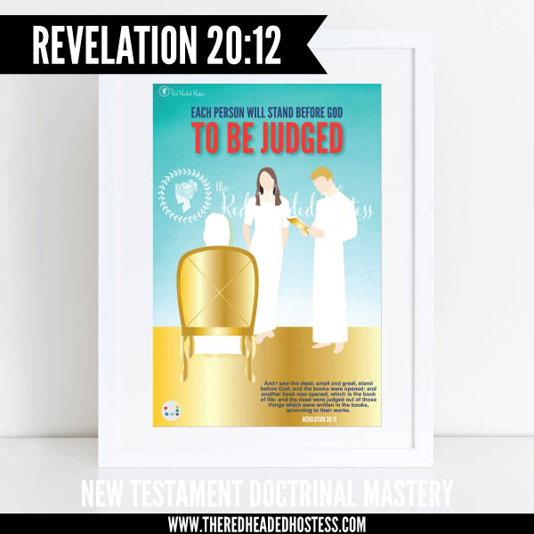 Revelation 20:12 - Each person will stand before God to be judged - New Testament Doctrinal Mastery illustrated poster