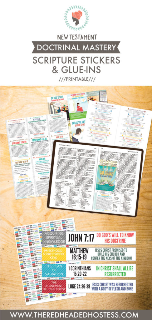 New Testament Doctrinal Mastery - Scripture Stickers and Glue-Ins! Just print and cut! There are printable extra mini posters and quotes! Plus stickers (just print onto sticker paper) to stick into the margins. Amazing!